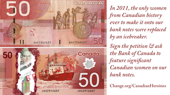 Canadian women on banknotes petition