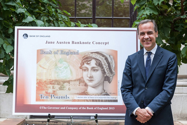 Mark Carney unveiling design for Jane Austen note